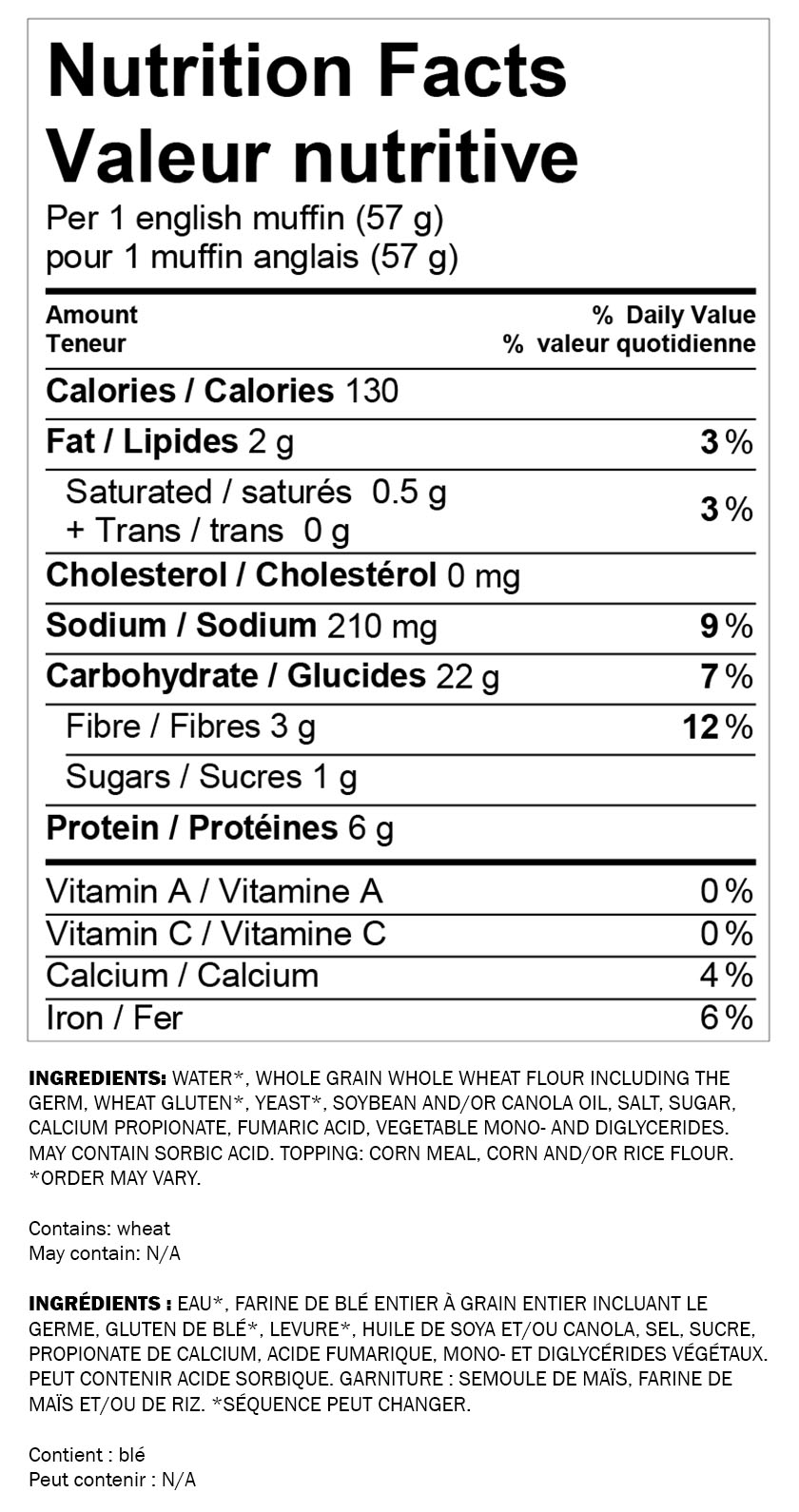 Nutritional information for Wonder® 100% Whole Wheat Breakfast Sandwich 6pk