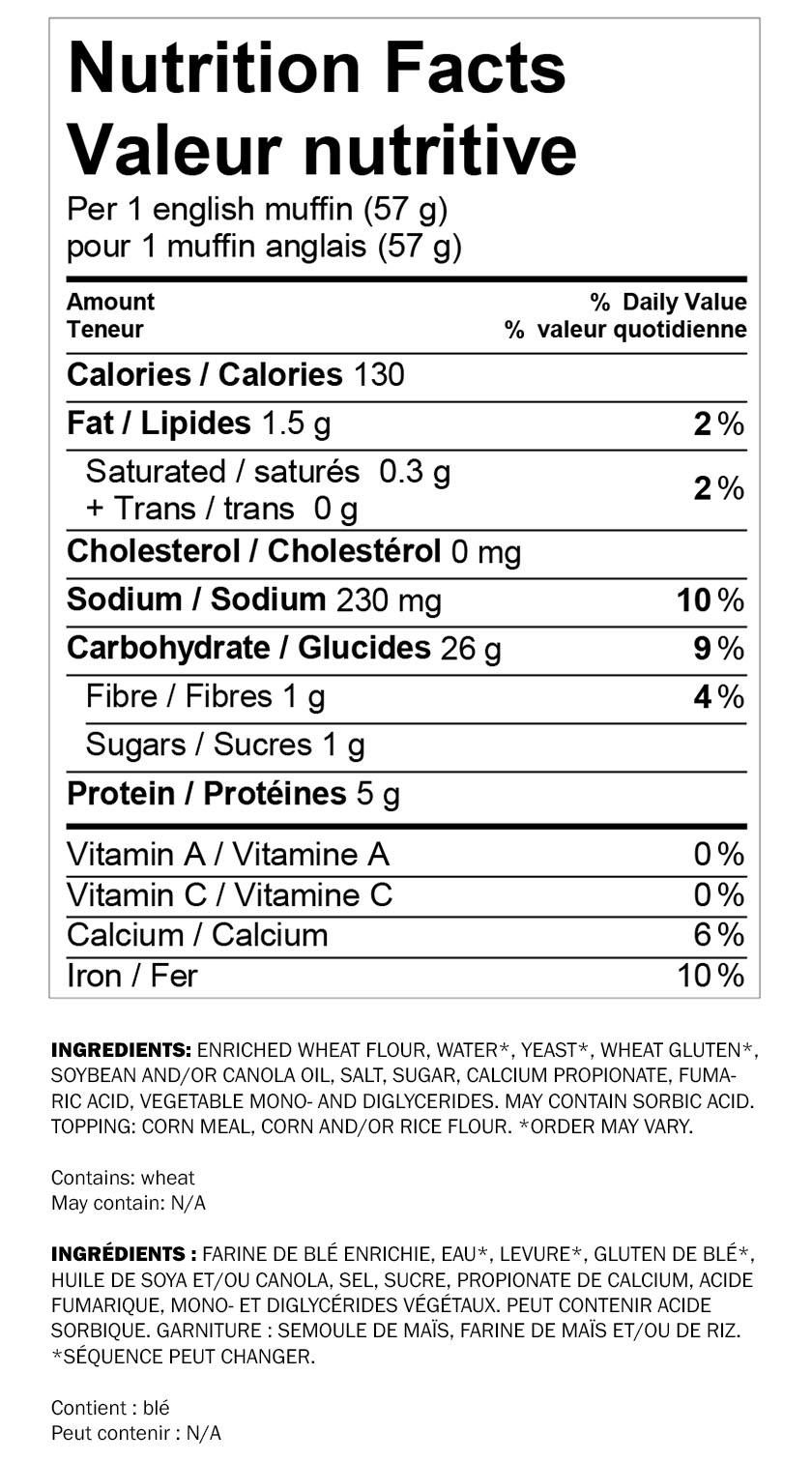 Nutritional information for Wonder® White Breakfast Sandwich 12pk