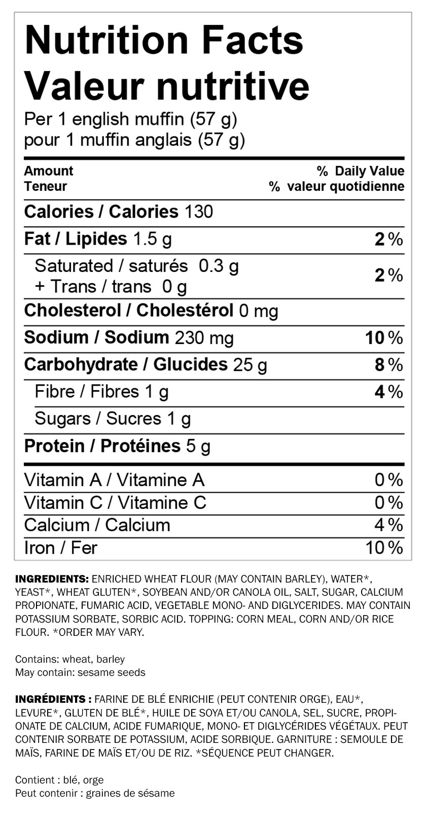 Nutritional information for Wonder® White Breakfast Sandwich 6pk