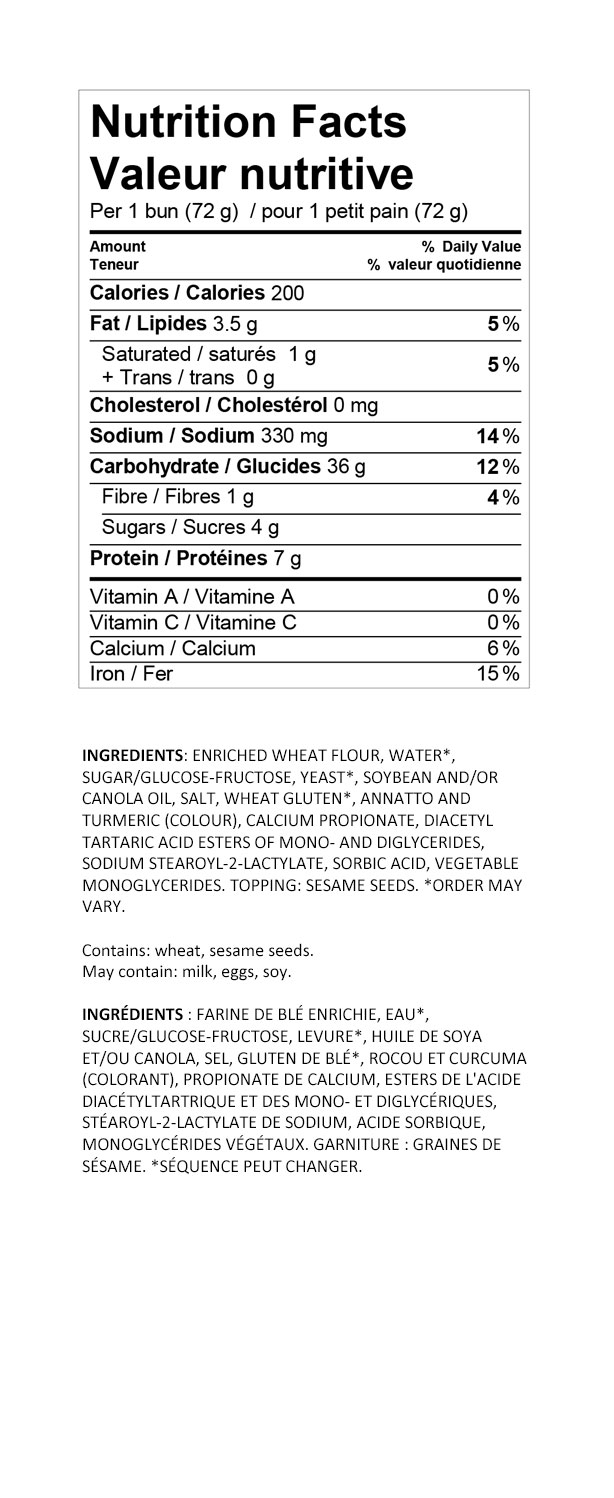 Nutritional information for Wonder® Ballpark Classics Hotdog Buns 6pk